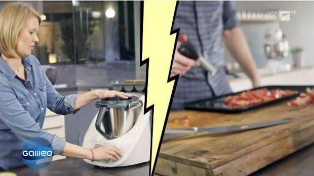 Zweigeteiltes Bild: rechts wird Gemüse herkömmlich mit dem Messer geschnitten...
