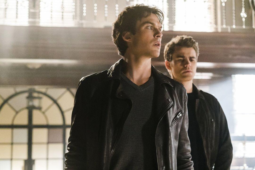 Damon (Ian Somerhalder, l.) und Stefan (Paul Wesley, r.) hoffen darauf, dass sie in den Katakomben der Armory den Weg finden, um Bonnie von ihrem mö... - Bildquelle: Warner Bros. Entertainment, Inc.