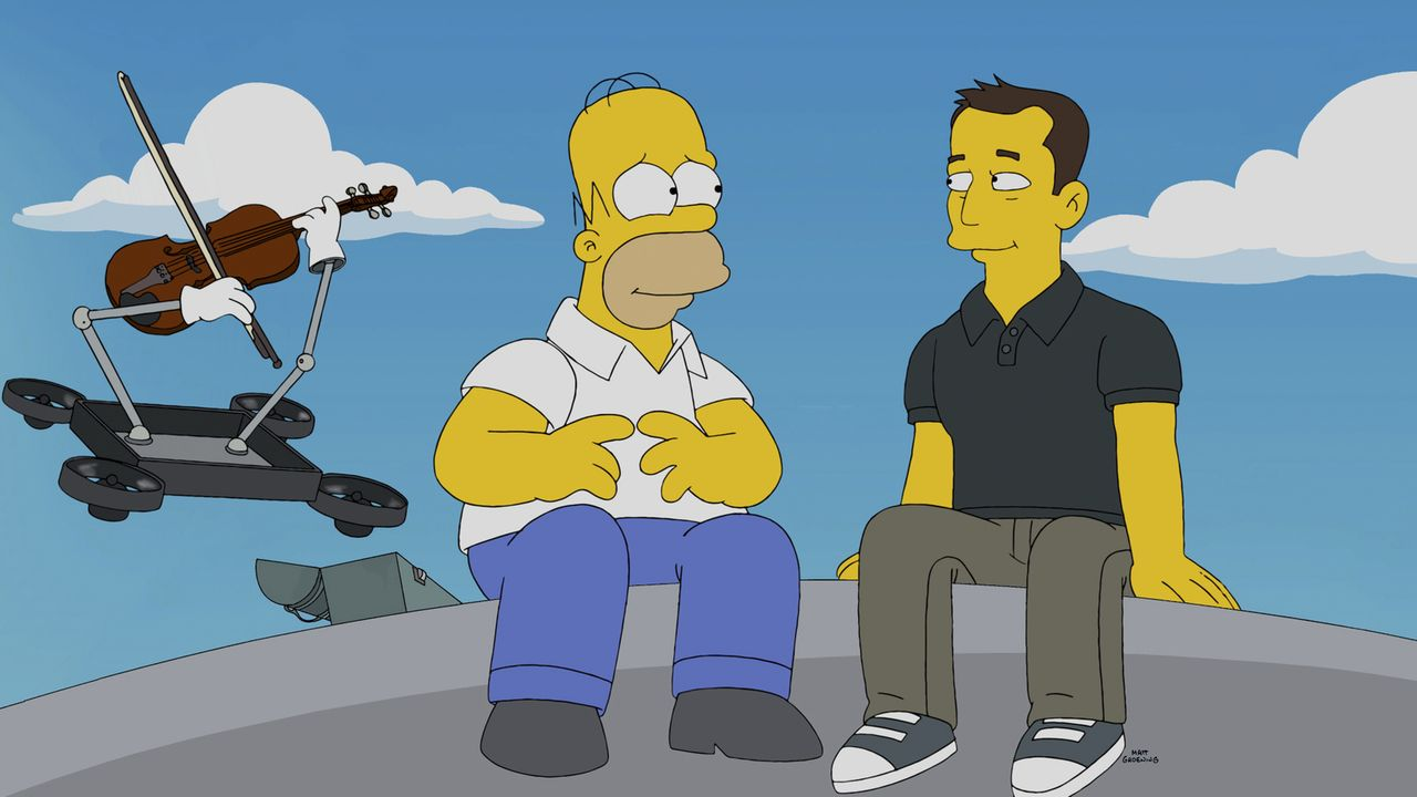 Sehr zu Homers (l.) Freude sorgt Elon (r.) nicht nur für ein ausgezeichnetes Essen ... - Bildquelle: 2014 Twentieth Century Fox Film Corporation. All rights reserved.