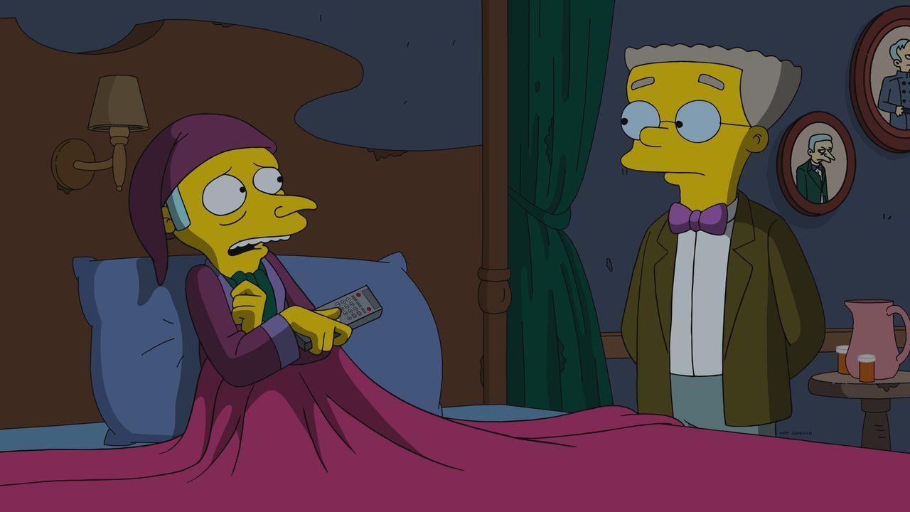 Mr. Burns (l.) baut eine Arche, um für die drohende Apokalypse vorzusorgen. Doch jetzt muss er entscheiden, wer im Ernstfall diese betreten darf. Ka... - Bildquelle: 2017-2018 Fox and its related entities.  All rights reserved.