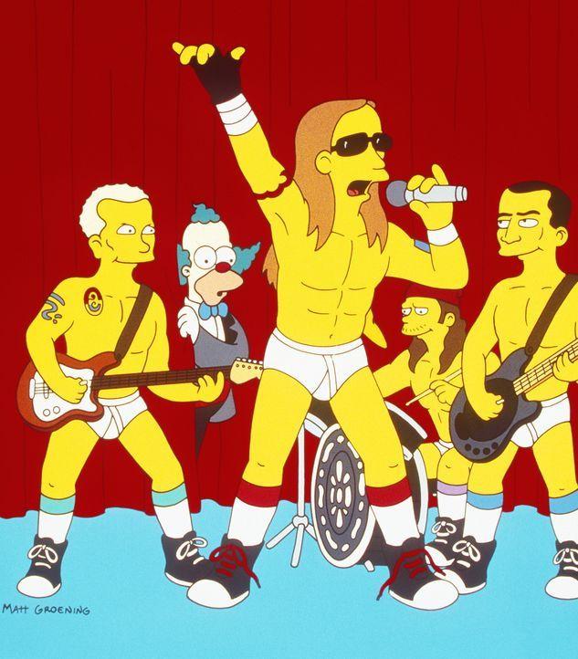 """Zu Krustys (2.v.l.) Comeback-Special erscheint die Musikgruppe """"Red Hot Chili Peppers"""". - Bildquelle: und TM Twenthieth Century Fox Film Corporation - Alle Rechte vorbehalten"""