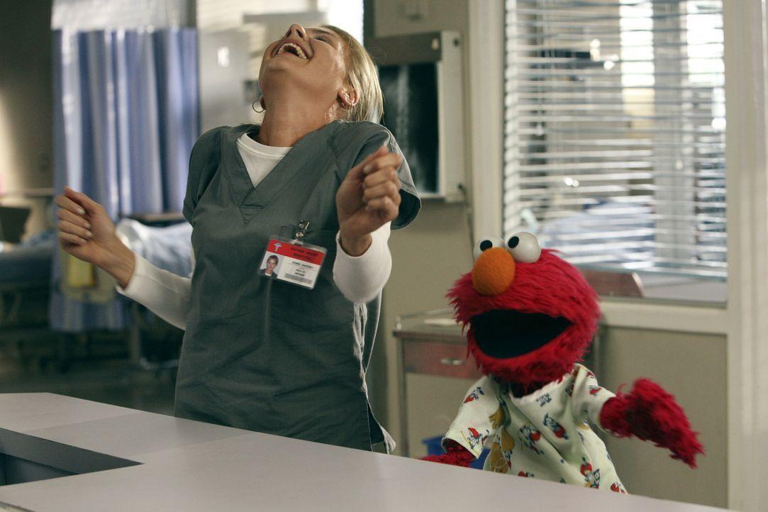 Haben Spaß miteinander: Dr. Denise Mahoney (Eliza Coupe, l.) und Elmo (r.) ... - Bildquelle: Touchstone Television