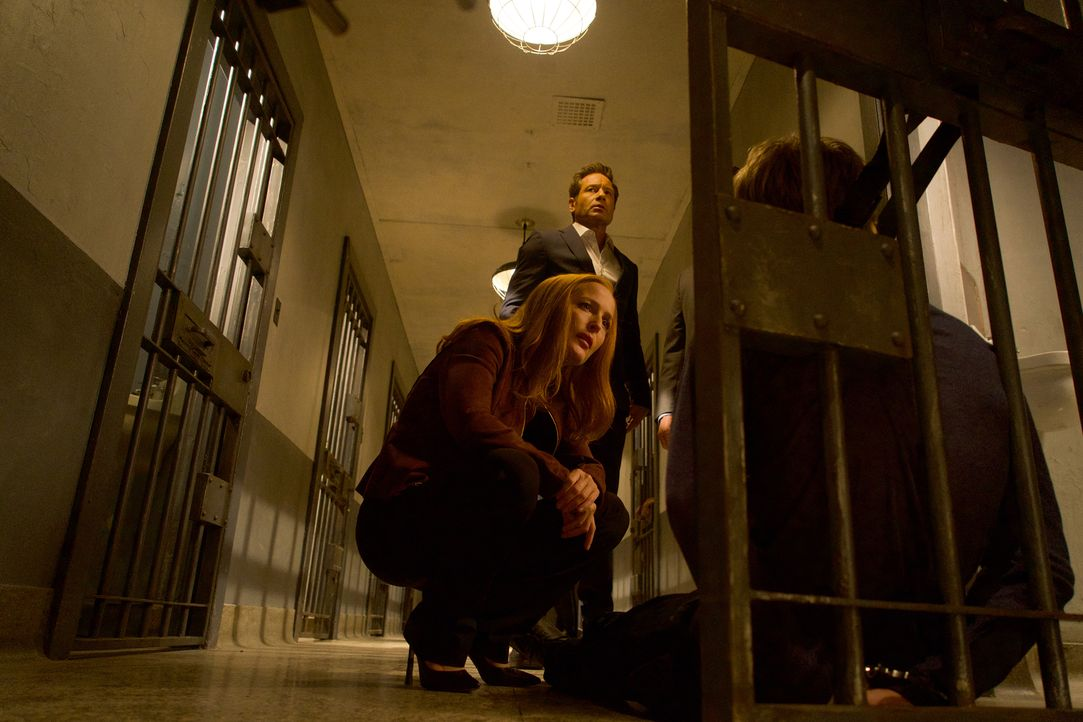 Mulder (David Duchovny, hinten) und Scully (Gillian Anderson, vorne) werden auf eine Reihe von Selbstmorden aufmerksam, bei denen die Opfer vor ihre... - Bildquelle: Shane Harvey 2017 Fox and its related entities.  All rights reserved.