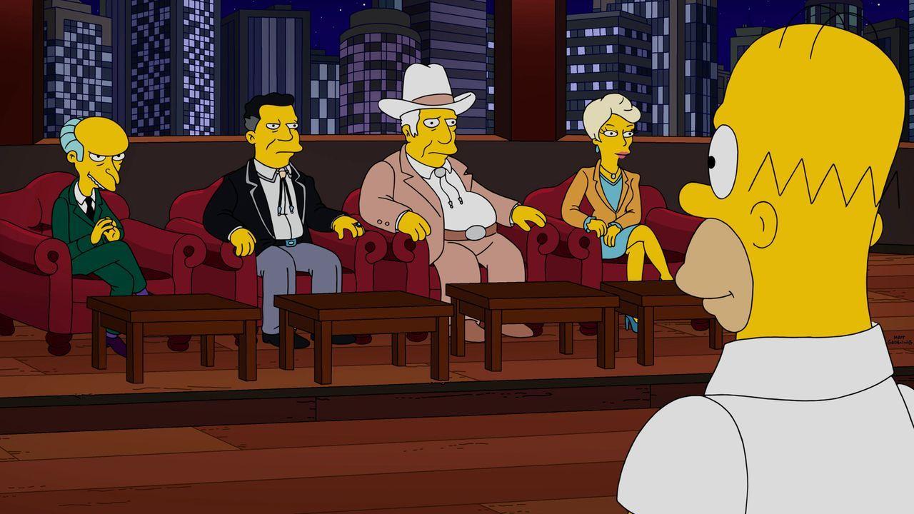 Einer Fachjury präsentiert Homer (r.) einer seiner verrückten neuen Ideen. Doch der einzige, der sich aus kapitalistischen Gründen dafür interessier... - Bildquelle: 2016-2017 Fox and its related entities. All rights reserved.