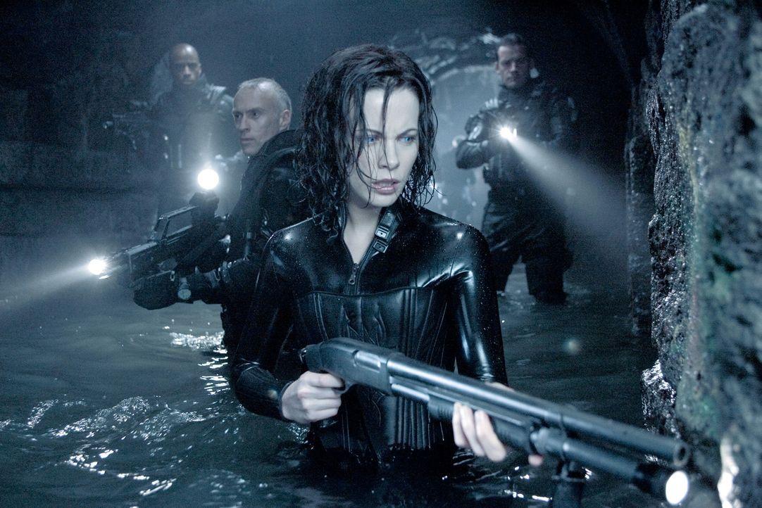 Nachdem sie den Vampir-Ältesten Viktor getötet hat, und die Gegner ihr nach dem Leben trachten, sieht Vampirin Selene (KATE BECKINSALE) nur einen Au... - Bildquelle: Sony Pictures Television International. All Rights Reserved.