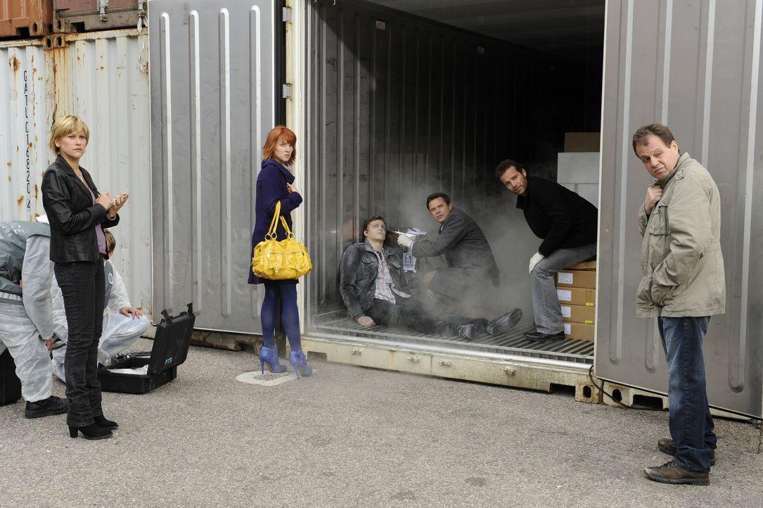 Als die Leiche des gutaussehenden Raphaël Mirmont (Baptiste Mayeux, 3.v.l.) tiefgefroren in einem Container gefunden wird, machen sich Fred (Vanessa... - Bildquelle: 2008 - Beaubourg Audiovisuel/BeFilms/RTBF (Télévision Belge)