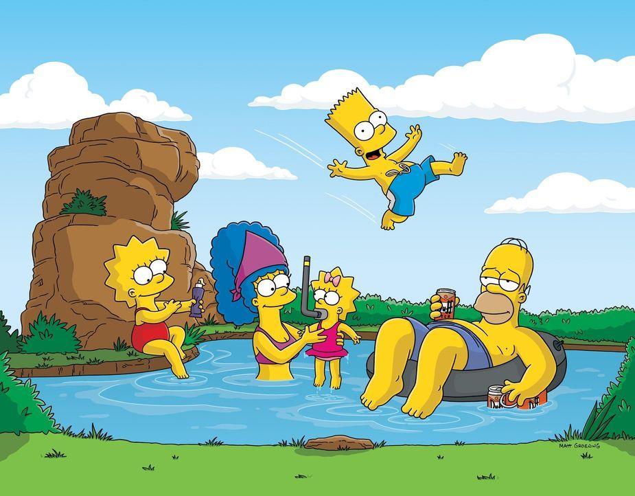 (17. Staffel) - Eine ganz besondere Familie: Lisa (l.), Homer (r.), Bart (2.v.r.), Marge (2.v.l.) und Maggie (M.). - Bildquelle: und TM Twentieth Century Fox Film Corporation - Alle Rechte vorbehalten