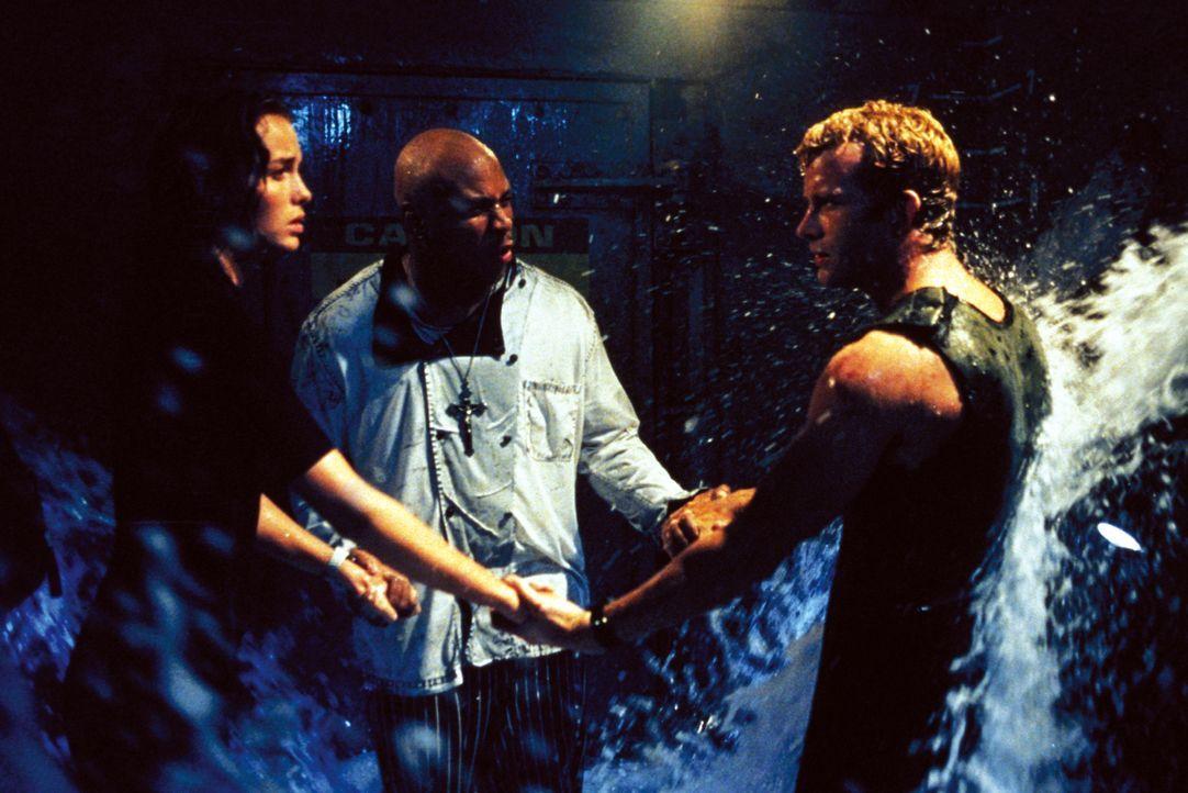 """Wissen noch nicht, was die Haie derartig aggressiv macht: (v.l.n.r.) Dr. Susan McAlester (Saffron Burrows), """"Preacher"""" (LL Cool J) und Carter Blake... - Bildquelle: Warner Bros. Pictures"""