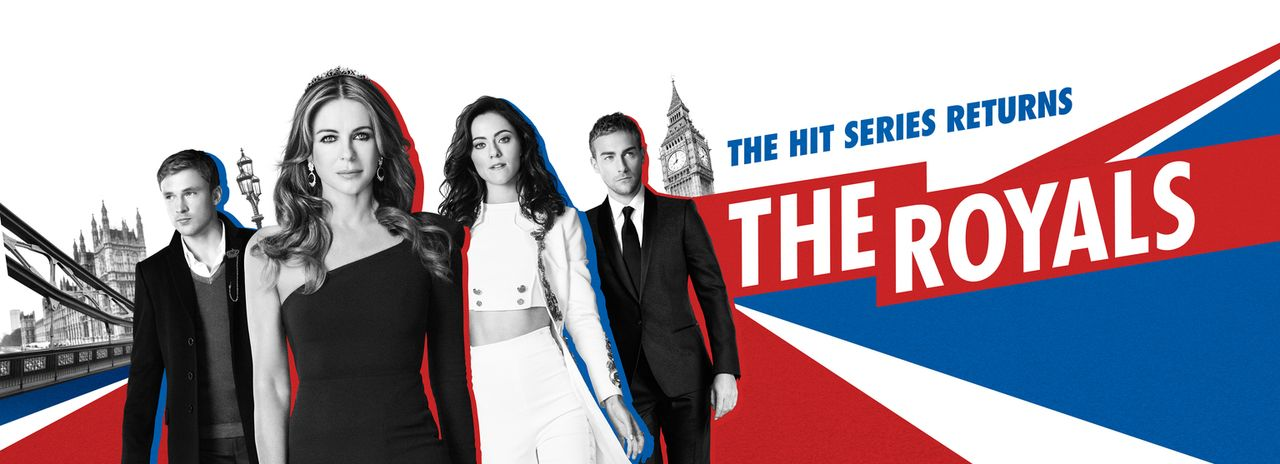 (3. Staffel) - The Royals: Helena (Elizabeth Hurley, 2.v.l.), Liam (William Moseley, l.), Eleanor (Alexandra Park, 2.v.r.) und Jasper (Tom Austen, r... - Bildquelle: 2016 E! Entertainment Television, LLC