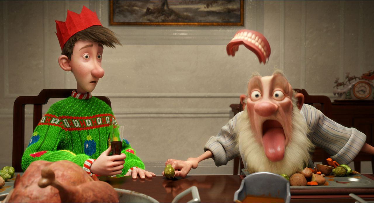 Als das Weihnachtsfest wegen Steve auf dem Spiel steht, müssen Arthur (l.) und Opa Weihnachtsmann (r.) alles tun, um das Weihnachtsfest zu retten ... - Bildquelle: 2011 Sony Pictures Animation Inc. All Rights Reserved.