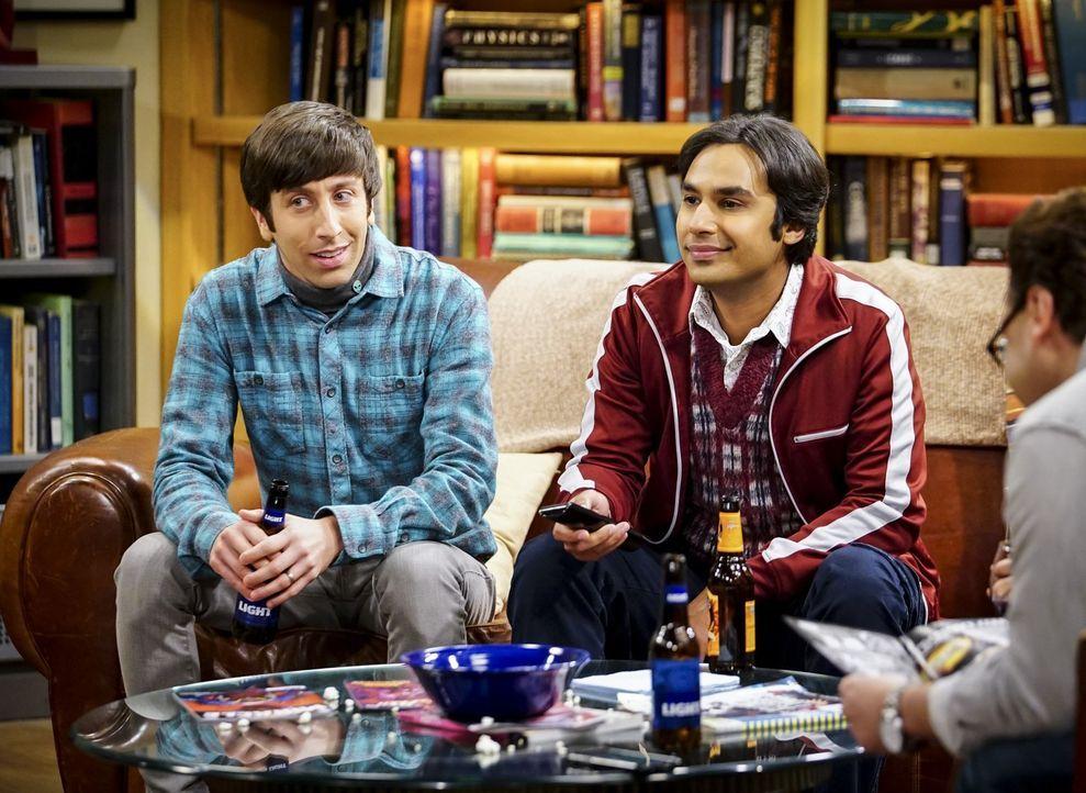 Während Howard (Simon Helberg, l.) ein Geheimnis von Sheldon lüftet, wird Raj (Kunal Nayyar, r.) von Bernadette beauftragt, zu recherchieren, ob ihr... - Bildquelle: Warner Bros. Television