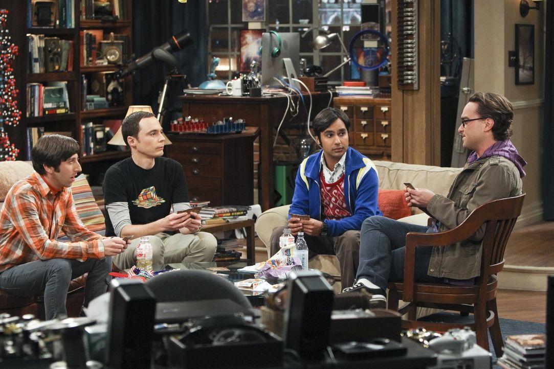 Eine ganz besondere Männerrunde: Howard (Simon Helberg, l.), Sheldon (Jim Parsons, 2.v.l.), Leonard (Johnny Galecki, r.) und Raj (Kunal Nayyar, 2.v.... - Bildquelle: Warner Bros. Television