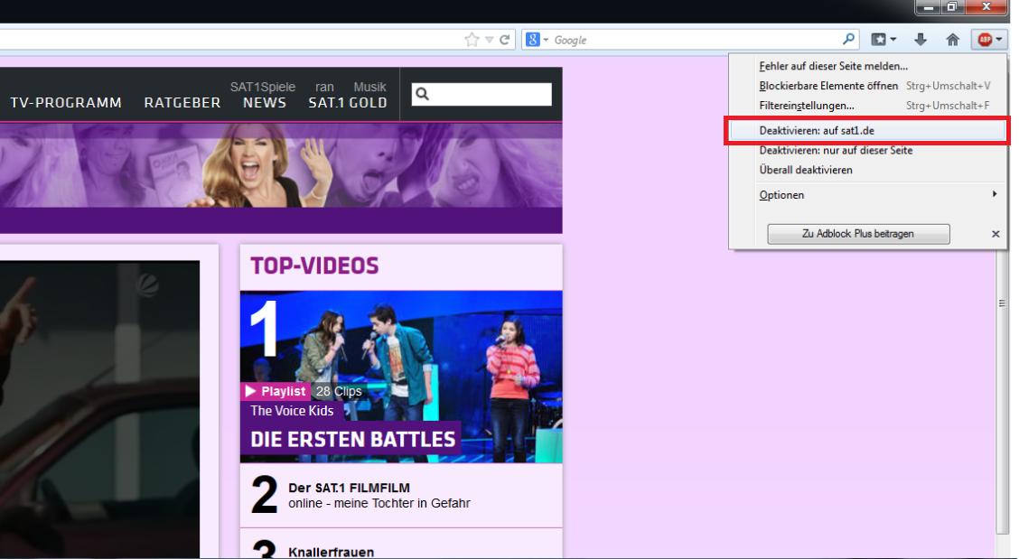 Firefox: AdBlocker für bestimmte Seite deaktivieren
