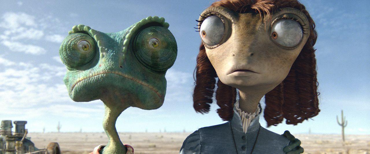 Rango (l.) ist in seiner neuen Umgebung total überfordert, doch dann trifft er auf die hübsche Wüstenleguan-Dame Bohne (r.) und lernt ihre sonderbar... - Bildquelle: Paramount Pictures. All rights reserved.