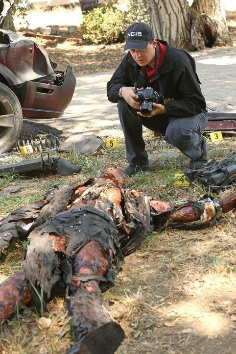 McGee (Sean Murray) fotografiert die grauenvoll entstellte Leiche des Opfers eines Bombenanschlags. Handelt es sich bei dem Toten tatsächlich um ein... - Bildquelle: Michael Yarish 2014 CBS Broadcasting, Inc. All Rights Reserved