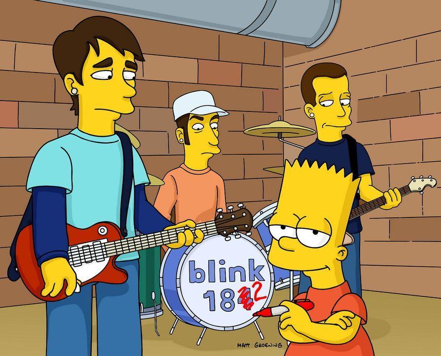 Bart (vorne r.) mit seinen neuen Freunden von Blink 182 ... - Bildquelle: TWENTIETH CENTURY FOX FILM CORPORATION