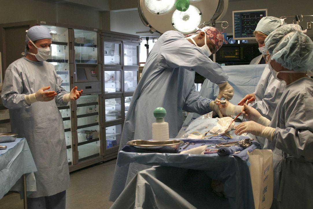 Der tapsige George O'Malley (T.R. Knight, l.) wird vom überheblichen Oberarzt Dr. Burke (Isaiah Washington, 2.v.l.) ausgewählt, eine Appendektomie d... - Bildquelle: Touchstone Television