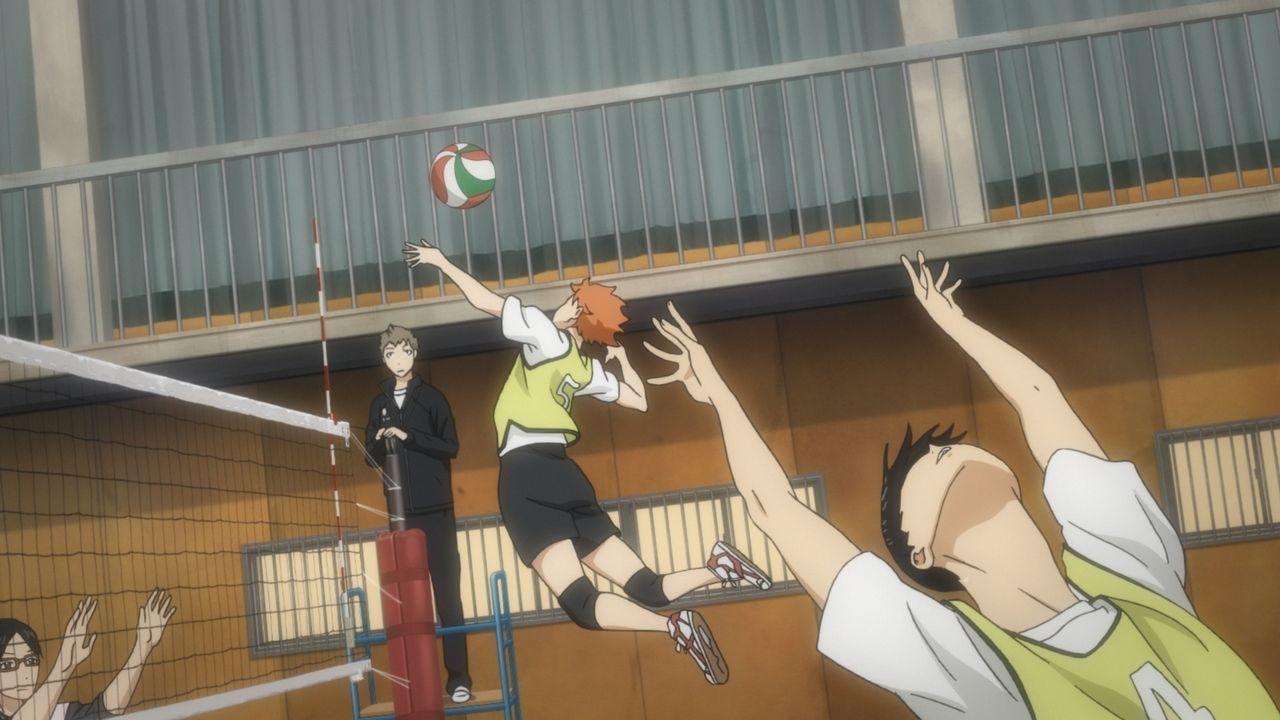 """(v.l.n.r.) Hisashi; Kinoshita;Shoyo Hinata; Tobio Kageyama - Bildquelle: H.Furudate / Shueisha,""""Haikyu!!?Project,MBS"""