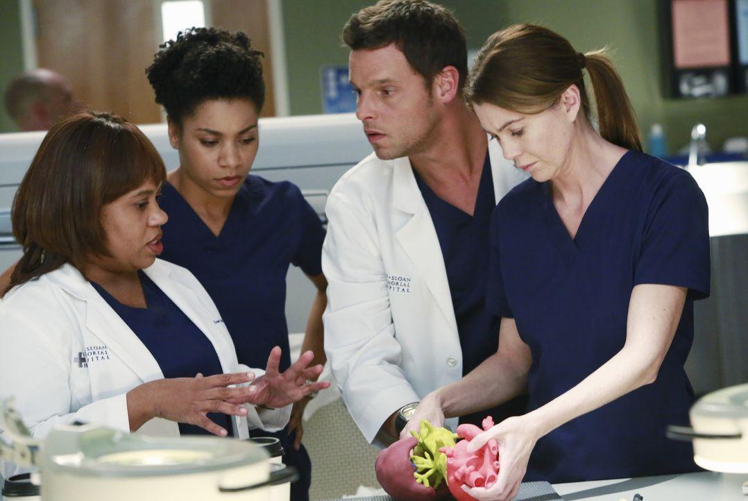 Versuchen alles, um eine Patientin zu retten: Meredith (Ellen Pompeo, r.), Miranda (Chandra Wilson, l.), Maggie (Kelly McCreary, 2.v.l.) und Alex (J... - Bildquelle: ABC Studios