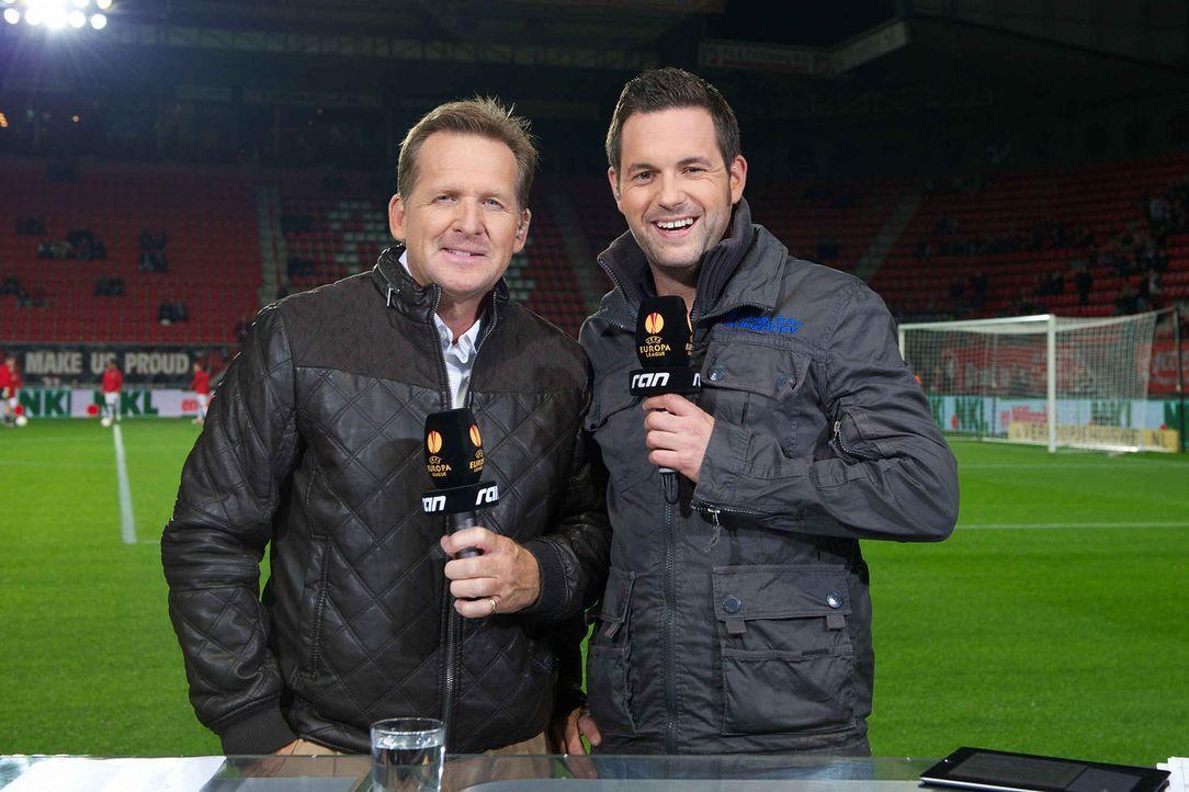 Bernd Schuster (l.) und Matthias Killing (r.) moderieren die Übertragungen der UEFA Europa League. - Bildquelle: Witters kabel eins