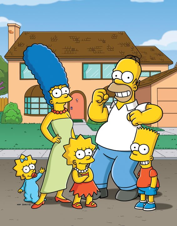 (27. Staffel) - Eine etwas andere Familie: Maggie (l.), Marge (2.v.l.), Homer (2.v.r.), Bart (r.) und Lisa Simpson (M.) ... - Bildquelle: 2015 Fox and its related entities.  All rights reserved.