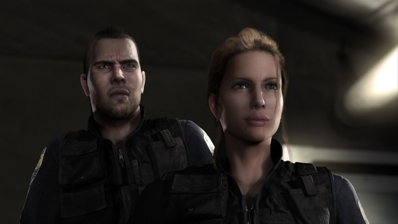 Man sieht sich immer zwei Mal im Leben: Der wortkarge, unerschrockene Polizist Leon S. Kennedy (l.) und die furchtlose Claire Redfield (r.) sind dur... - Bildquelle: 2008 Capcom Co., Ltd. and Resident Evil CG Film Partners. All Rights Reserved.
