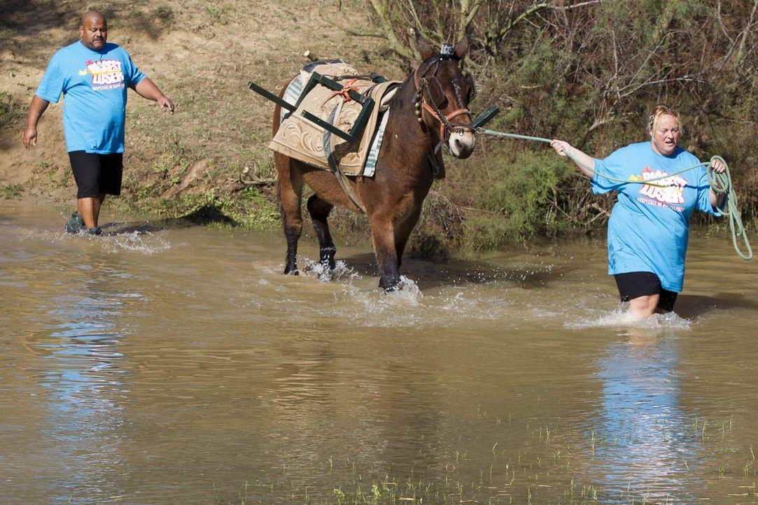 Einen Fluss zu durchwaten hört sich leicht an. Doch mit etlichen Kilos Übergewicht wird eine solche Aufgabe schnell zu einem echten Härtetest fü... - Bildquelle: Enrique Cano SAT.1