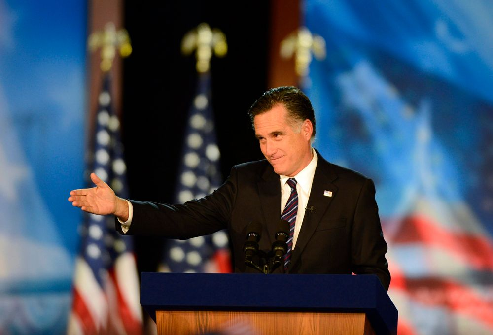 Mitt Romney räumt im Boston Convention and Exhibition Center seine Niederlage in der Präsidentschaftswahl 2012 ein. - Bildquelle: dpa - Bildfunk +++ Verwendung nur in Deutschland