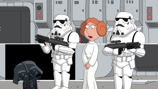 Lois als sexy Prinzessin Leia (2.v.r.) trifft auf Baby Stewie, der als Darth...