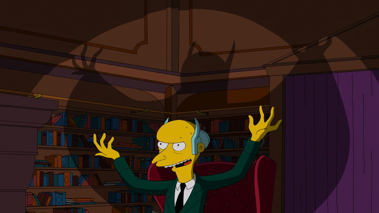 Mr. Burns wandelt auf den Spuren von Bat Man und beschließt, im Fledermaus-Kostüm auf Verbrecherjagd zu gehen ... - Bildquelle: und TM Twentieth Century Fox Film Corporation - Alle Rechte vorbehalten