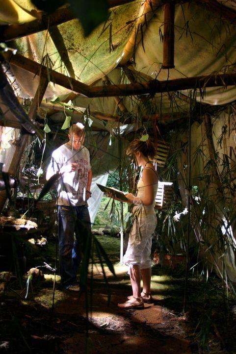 Als Liz (Jewel Staite, r.) und Jake (Kellan Lutz, l.) mitten im Dschungel eine verlassene Hütte entdecken, stoßen sie auf ein Tagebuch, in dem von m... - Bildquelle: Voltage Pictures