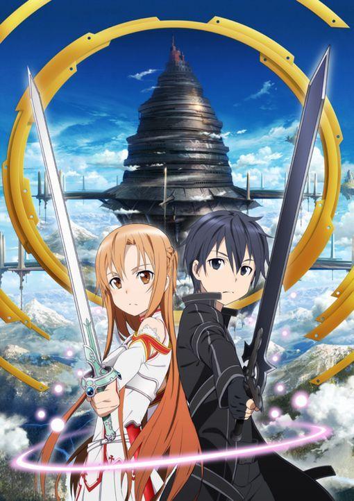 """(1. Staffel) - Die beiden Online-Game Spieler Asuna (l.) und Kazuto alias Kirito (r.) müssen in der virtuellen Welt """"Aincrad"""" des Spiels Sword Art O... - Bildquelle: REKI KAWAHARA/ASCII MEDIA WORKS/SAO Project"""