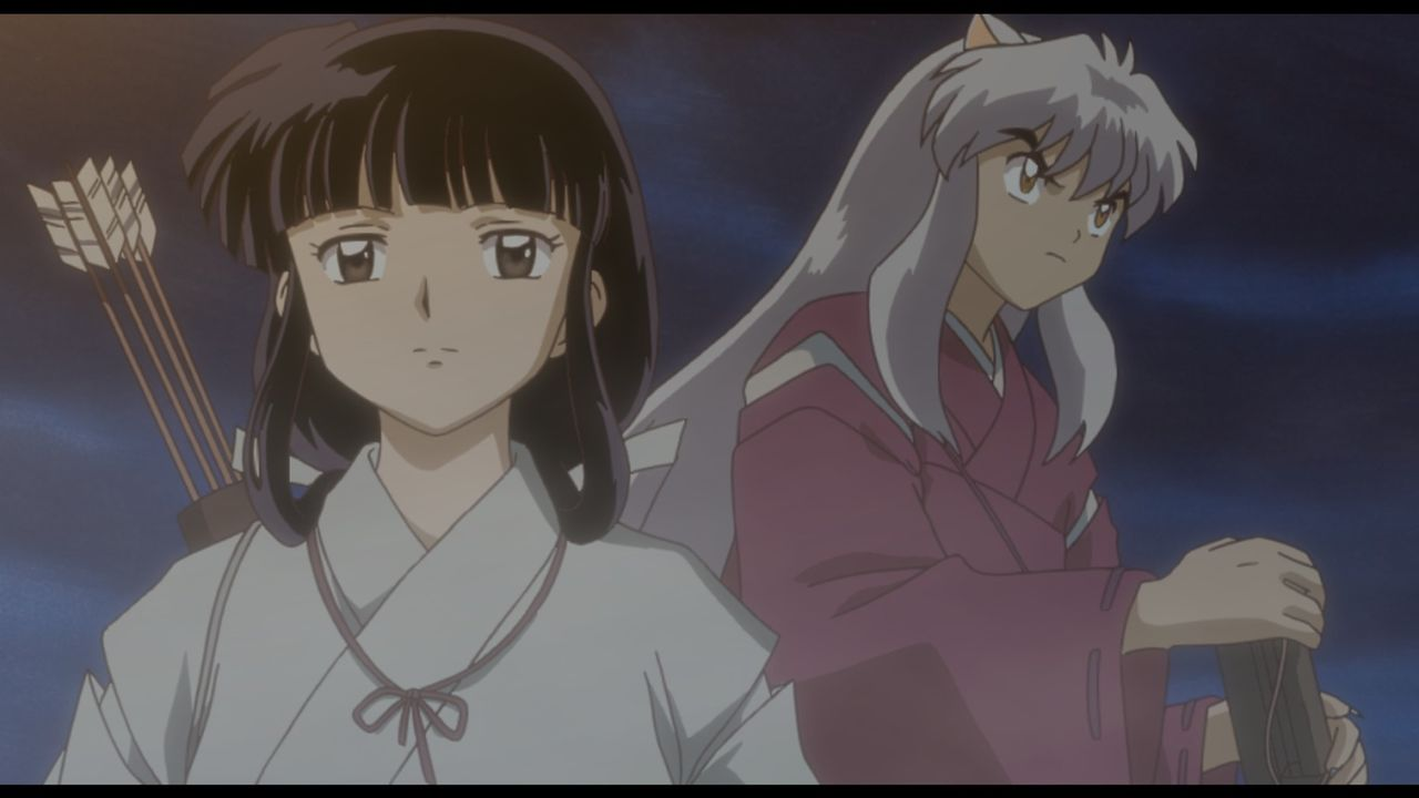Kikyo (l.); Inuyasha (r.) - Bildquelle: 2004 Rumiko Takahashi / Shogakukan-YTV-Sunrise-ShoPro-NTV-Toho-Yomiuri-TV Enterprise All Rights Reserved