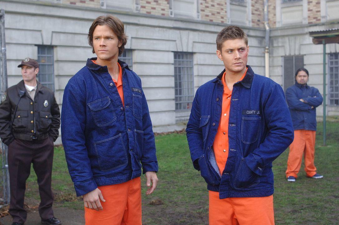 Hinter Gittern: Sam (Jared Padalecki, vorne l.) und Dean Winchester (Jensen Ackles, vorne r.) ... - Bildquelle: Warner Bros. Television