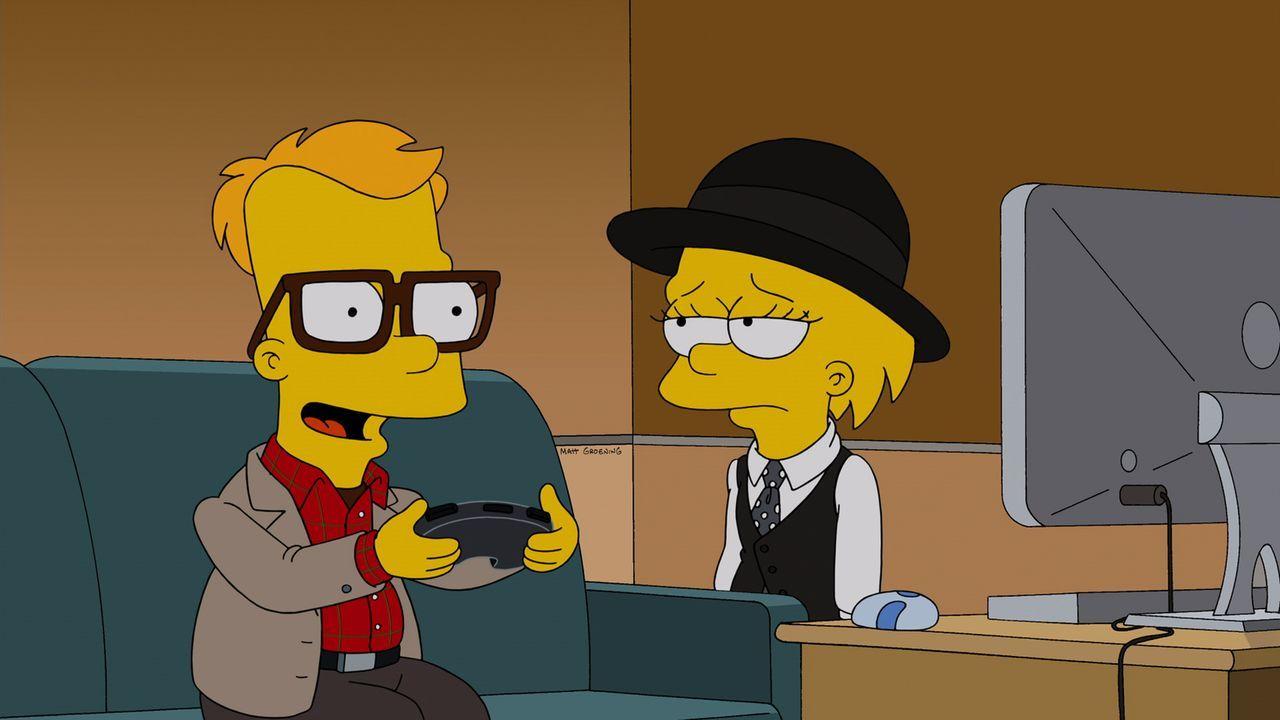 """Bart (l.) erzählt Lisa (r.) im Woody-Allen-Stil aus dem Film """"Der Stadtneurotiker"""" seine Liebesgeschichte mit Mary ... - Bildquelle: und TM Twentieth Century Fox Film Corporation - Alle Rechte vorbehalten"""