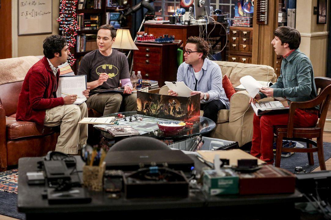 (v.l.n.r.) Raj (Kunal Nayyar); Sheldon (Jim Parsons); Leonard (Johnny Galecki); Howard (Simon Helberg) - Bildquelle: Michael Yarish 2018 WBEI. All rights reserved./Michael Yarish