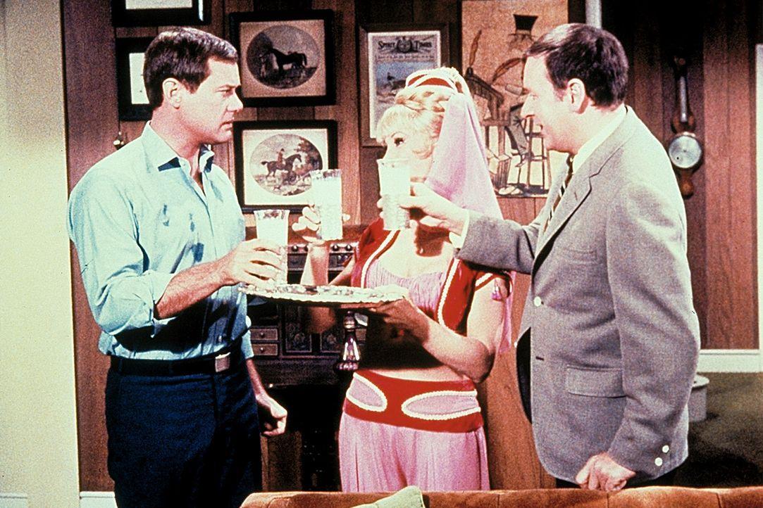 Tony (Larry Hagman, l.), Dr. Bellows (Hayden Rorke, r.) und Jeannie (Barbara Eden, M.) stoßen auf die verhinderte Flucht des Agenten an. - Bildquelle: Columbia Pictures