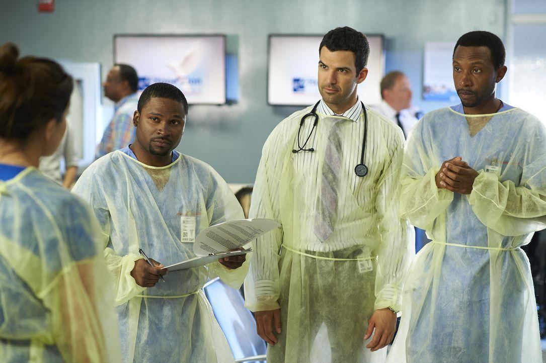 Noch ahnen Tom (K.C. Collins, r.), Zachary (Benjamin Ayres, M.) und Jackson (Joseph Pierre, l.) nicht, was für eine Masse an Patienten auf sie zukom... - Bildquelle: 2013  Hope Zee Two Inc.