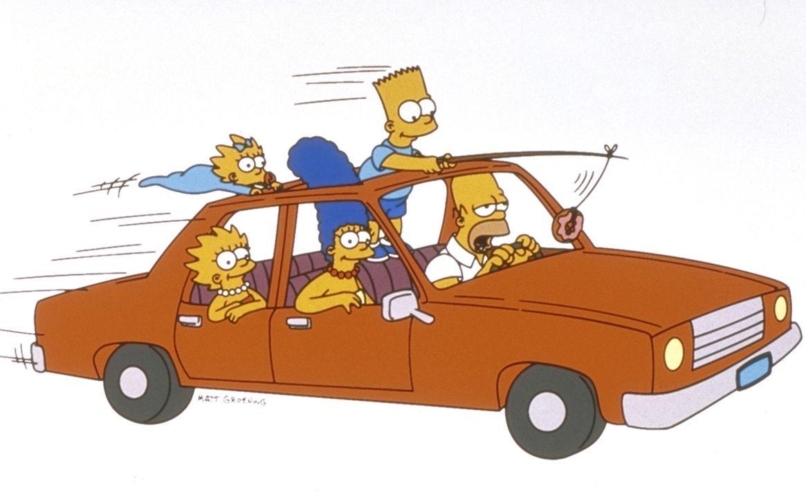 (10. Staffel) - Die Familie Simpson in Aktion (v.l.n.r.): Maggie, Lisa, Marge, Bart und Homer. - Bildquelle: und TM Twentieth Century Fox Film Corporation - Alle Rechte vorbehalten