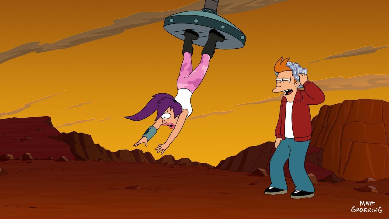 Wie soll Fry (r.) Leela (l.) nur verfolgen können, jetzt, wo sie auf dem Weg zu ihrem nächsten Versteck ist? - Bildquelle: 2009 Twentieth Century Fox Film Corporation. All rights reserved.