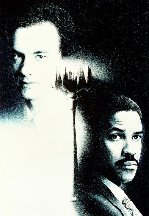 Andrew Beckett (Tom Hanks, l.) bittet den Anwalt Joe Miller (Denzel Washington, r.), ihn vor Gericht zu vertreten ... - Bildquelle: Columbia Pictures