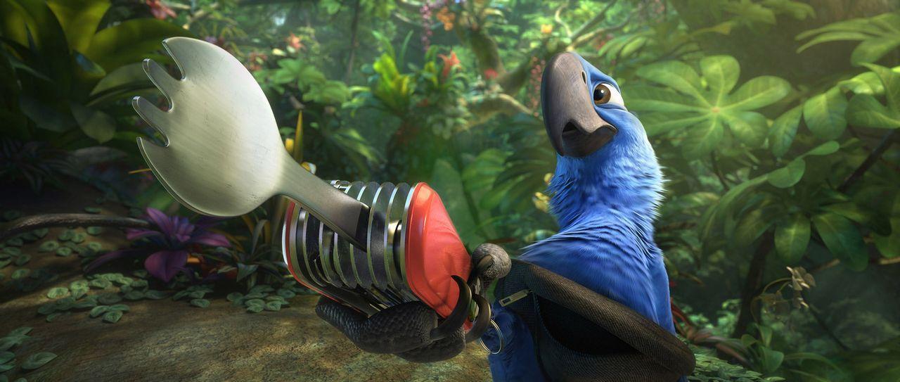 Papagei Blu ist ein totaler Fan von den Errungenschaften der Menschen: Taschenmesser, Navi, Bauchtasche. Seine Frau Jewel will aber lieber in die tr... - Bildquelle: 2014 Twentieth Century Fox Film Corporation.  All rights reserved.