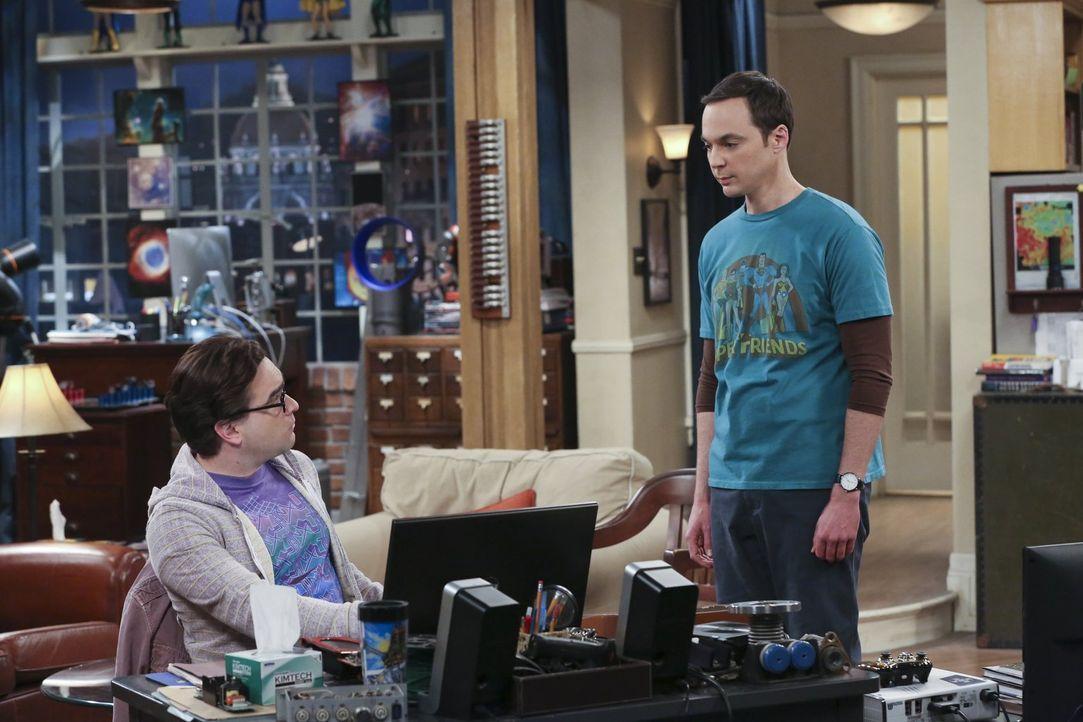 Wird, wenn er erkältet ist, zur wahren Furie und geht Leonard (Johnny Galecki, l.) und dem Rest der Clique gehörig auf die Nerven: Sheldon (Jim Pars... - Bildquelle: 2015 Warner Brothers