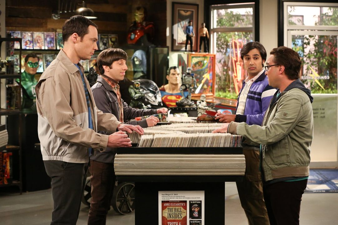 "Raj (Kunal Nayyar, 2.v.r.) schlägt Leonard (Johnny Galecki, r.), Howard (Simon Helberg, 2.v.l.) und Sheldon (Jim Parsons, l.) vor, ein besonderes ""A... - Bildquelle: 2016 Warner Brothers"