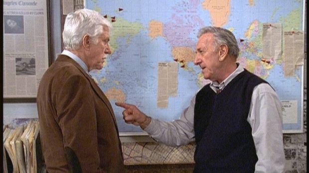 Harry Trumble (Jack Klugman, r.) erklärt Mark (Dick Van Dyke, l.) das Muster,...