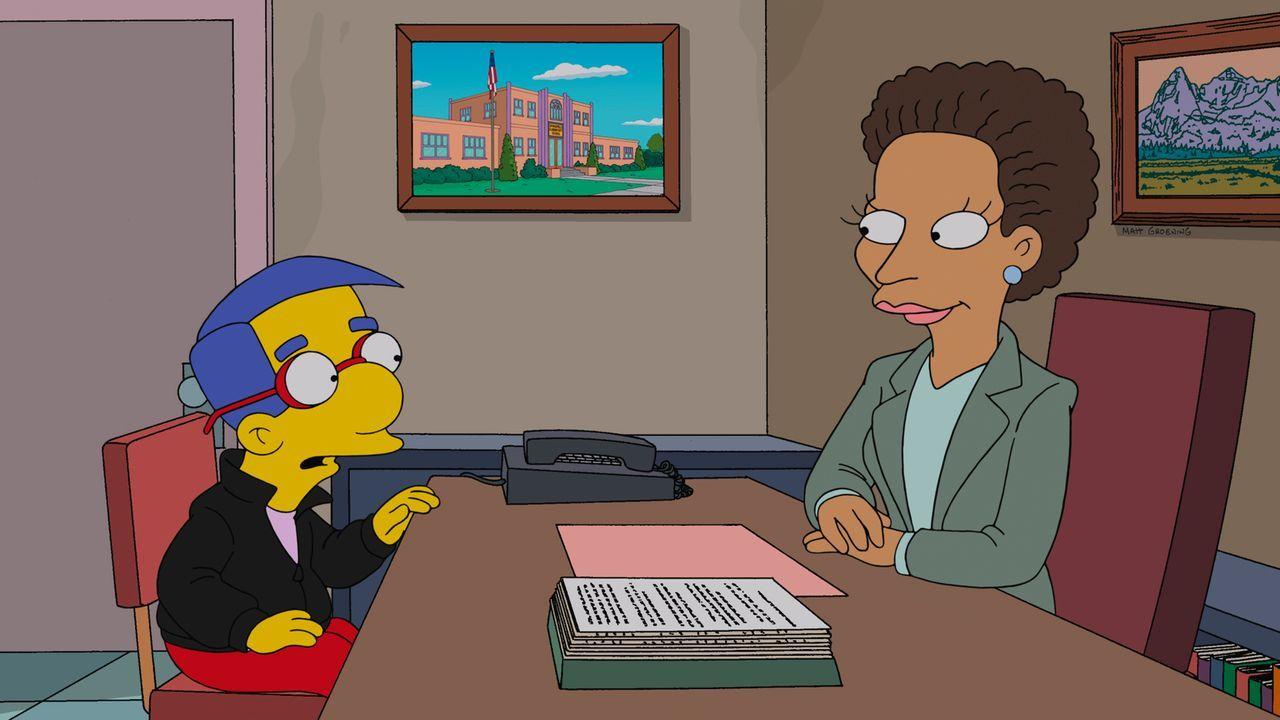 Um bei Lisa landen zu können, holt sich Milhouse (l.) Rat bei der Schulberaterin (r.). Doch wird sie ihm weiterhelfen können? - Bildquelle: und TM Twentieth Century Fox Film Corporation - Alle Rechte vorbehalten
