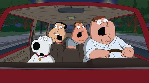Peter (r.), Brian (l.), Quagmire (2.v.l.) und Joe (2.v.r.) haben einen myster...