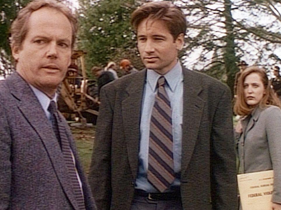 Der Gerichtsmediziner Truitt (Stephen E. Miller, l.) steht wie die FBI-Agenten Mulder (David Duchovny, M.) und Scully (Gillian Anderson, r.) fassung... - Bildquelle: TM +   2000 Twentieth Century Fox Film Corporation. All Rights Reserved.