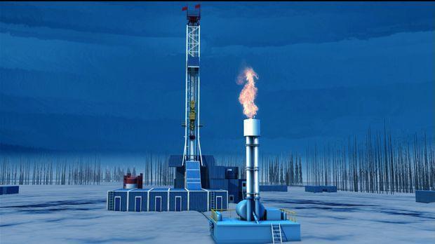 Im Kampf um das Erdgas im Norden Kanadas, 300 Kilometer nördlich des Polarkre...