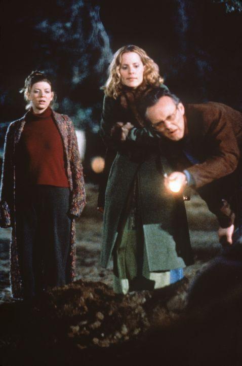 Rupert (Anthony Stewart Head, r.), Tara (Amber Benson, l.) und Anya (Emma Caulfield, M.) finden heraus, dass ein Meteorit auf die Erde gefallen ist... - Bildquelle: TM +   2000 Twentieth Century Fox Film Corporation. All Rights Reserved.